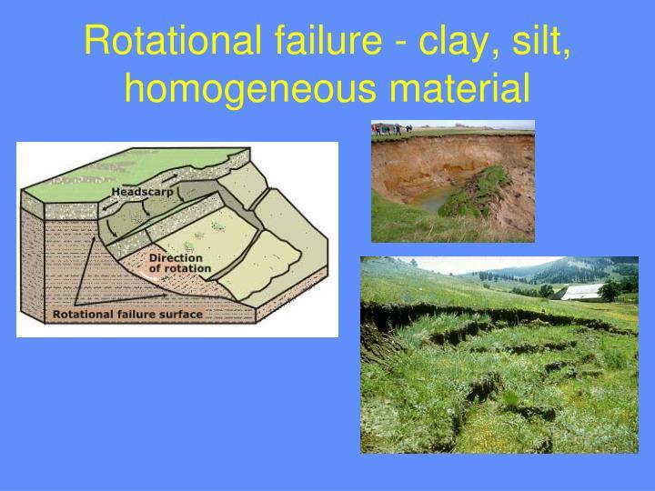 Rotational failure - clay, silt, homogeneous material