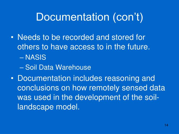 Documentation (con't)
