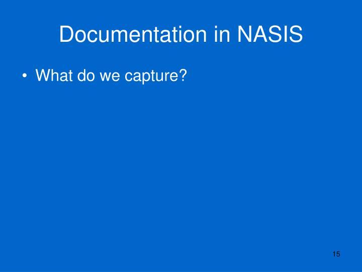 Documentation in NASIS