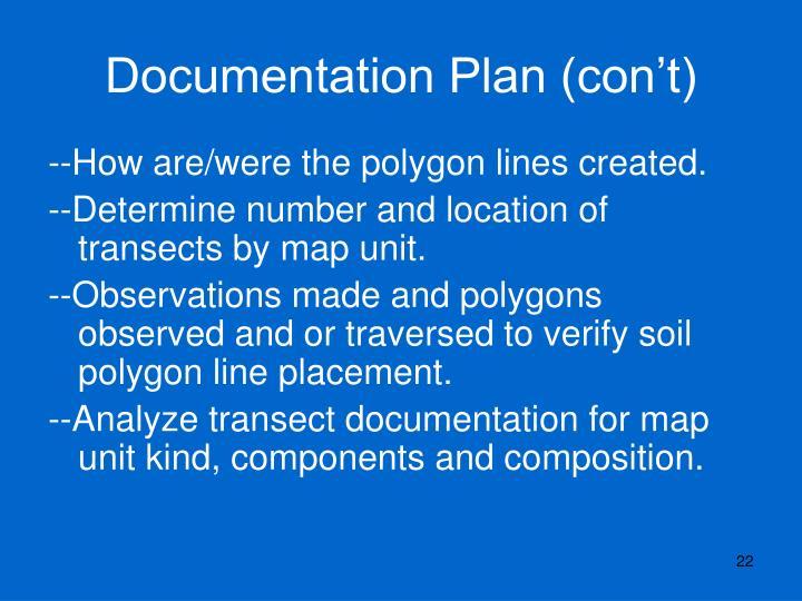 Documentation Plan (con't)