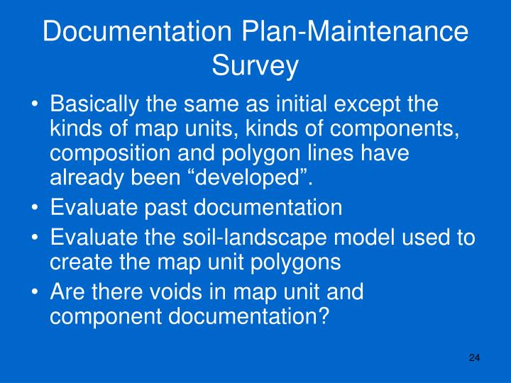 Documentation Plan-Maintenance Survey