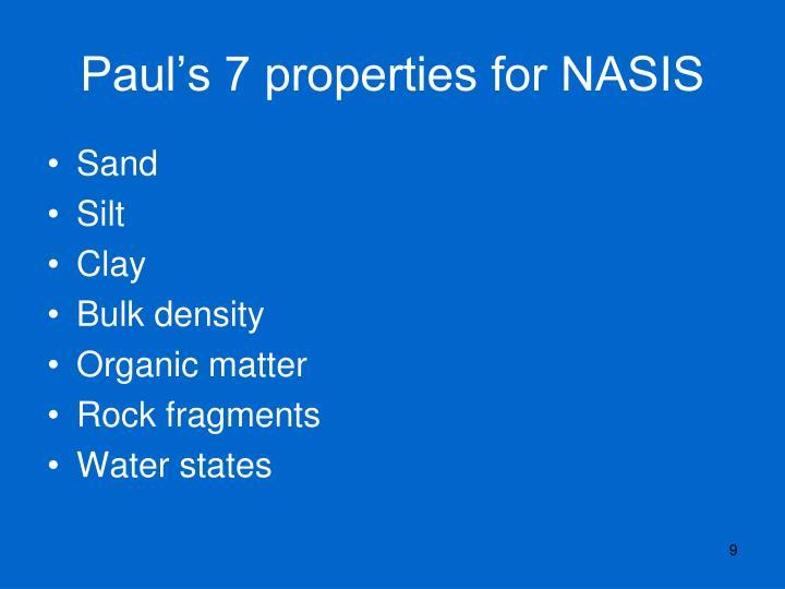 Paul's 7 properties for NASIS