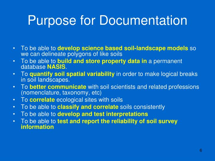 Purpose for Documentation