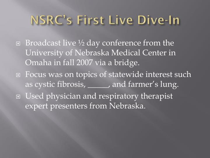 NSRC's First Live Dive-In