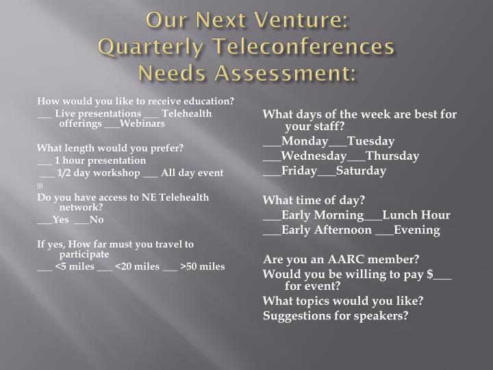 Our Next Venture: