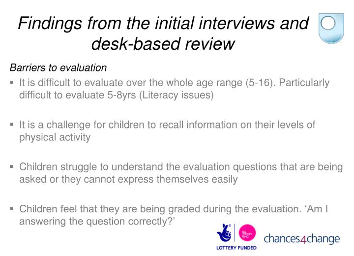 Findings from the initial interviews and desk-based review