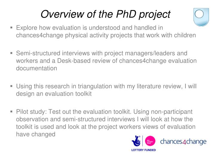 Overview of the PhD project