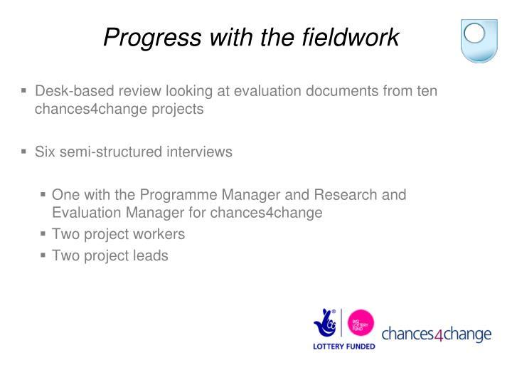 Progress with the fieldwork