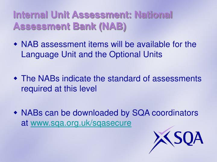 Internal Unit Assessment: National Assessment Bank (NAB)