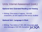 units internal assessment cont