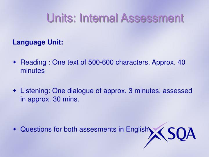 Units: Internal Assessment