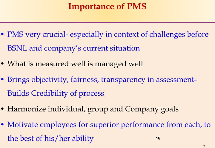 Importance of PMS
