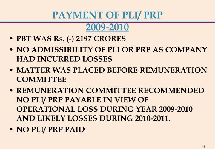 PAYMENT OF PLI/ PRP