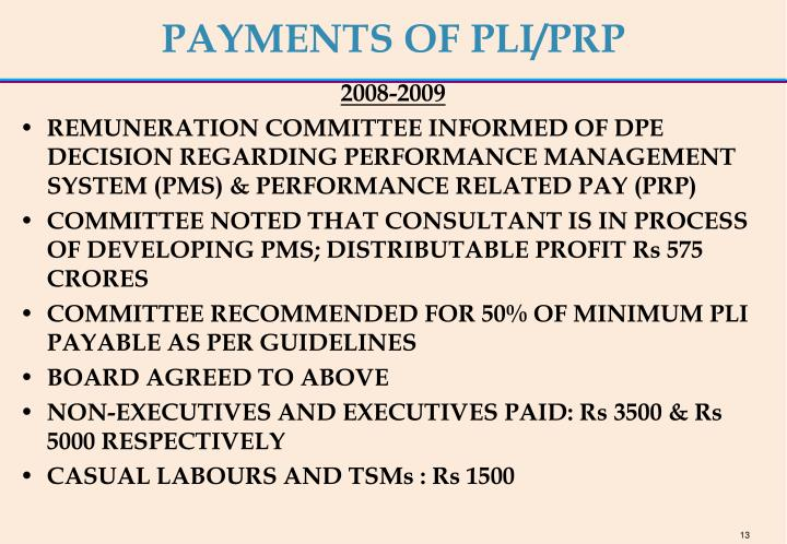 PAYMENTS OF PLI/PRP