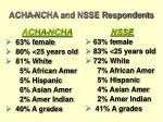 acha ncha and nsse respondents