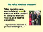 we value what we measure