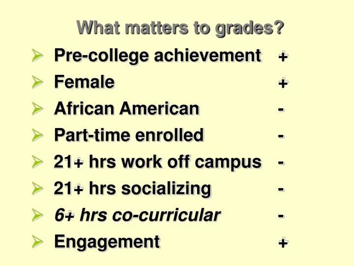 What matters to grades?
