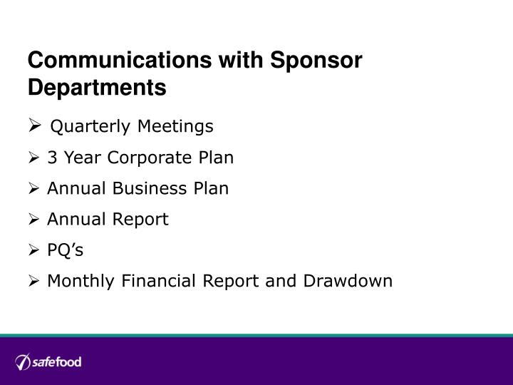 Communications with Sponsor Departments