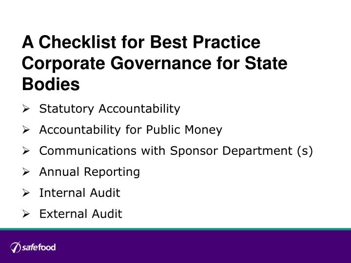 A Checklist for Best Practice Corporate Governance for State Bodies