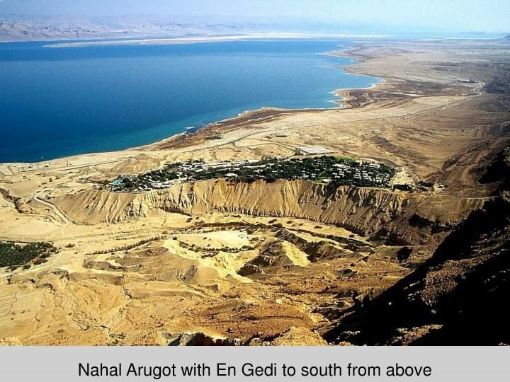 Nahal Arugot with En Gedi to south from above