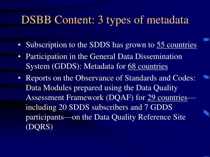 DSBB Content: 3 types of metadata