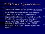 dsbb content 3 types of metadata