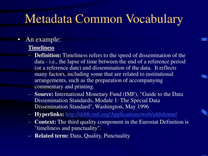 Metadata Common Vocabulary