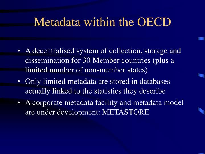 Metadata within the OECD
