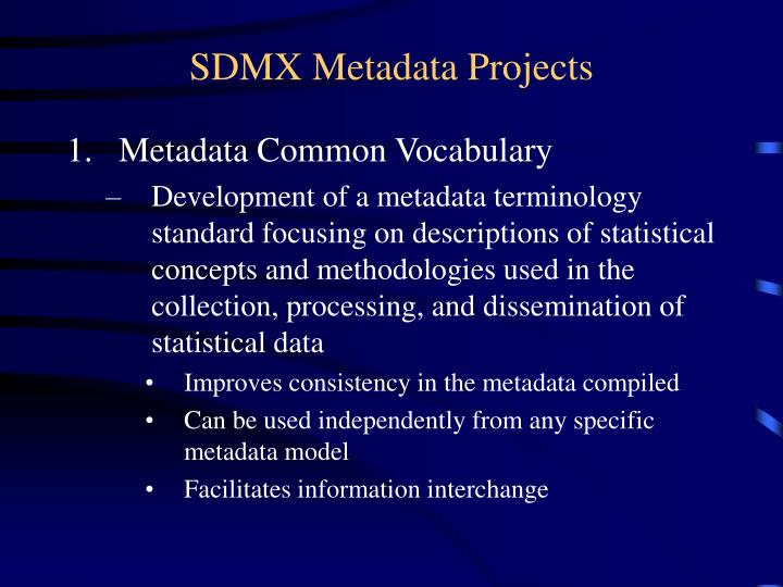 SDMX Metadata Projects