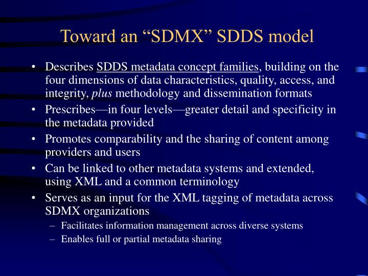 "Toward an ""SDMX"" SDDS model"
