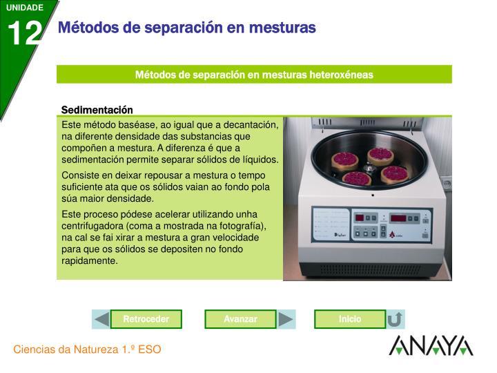 Métodos de separación en mesturas heteroxéneas