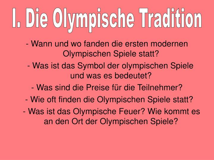 I. Die Olympische Tradition