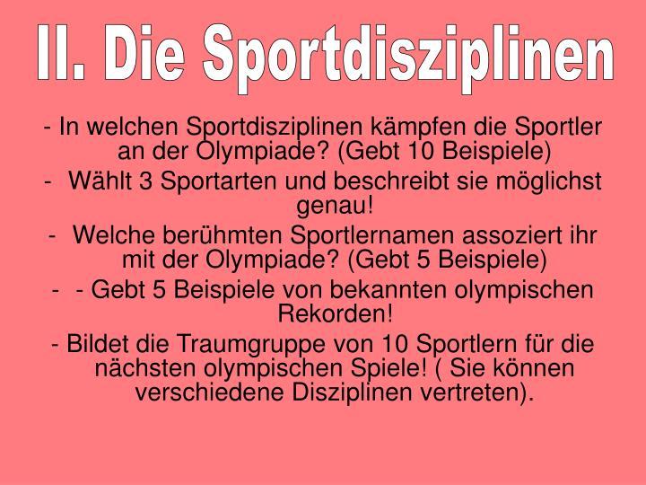 II. Die Sportdisziplinen
