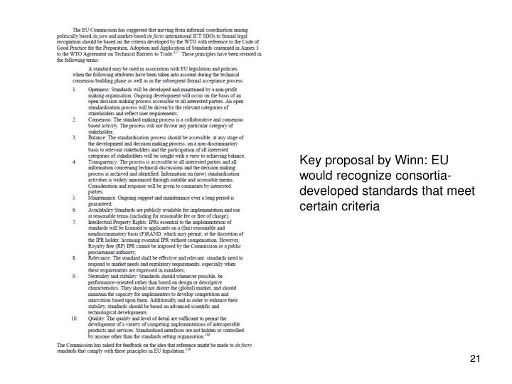 Key proposal by Winn: EU would recognize consortia-developed standards that meet certain criteria