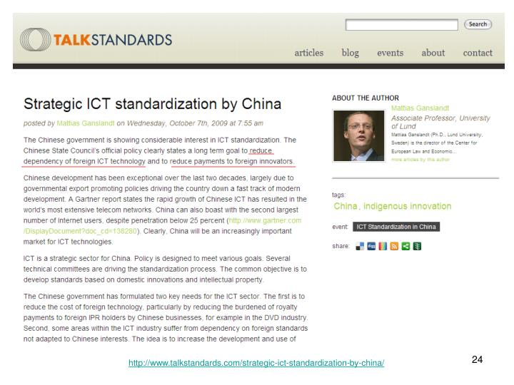 http://www.talkstandards.com/strategic-ict-standardization-by-china/