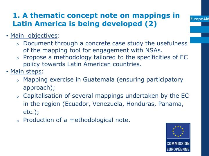 1. A thematic concept note on mappings in Latin America is being developed (2)