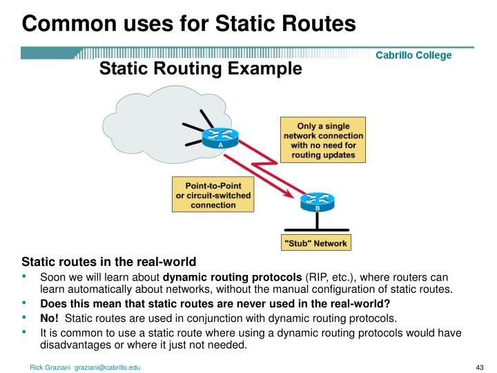 Common uses for Static Routes