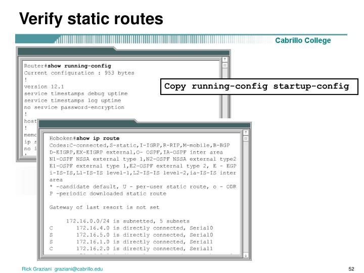 Verify static routes
