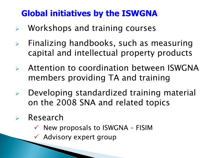Global initiatives by the ISWGNA