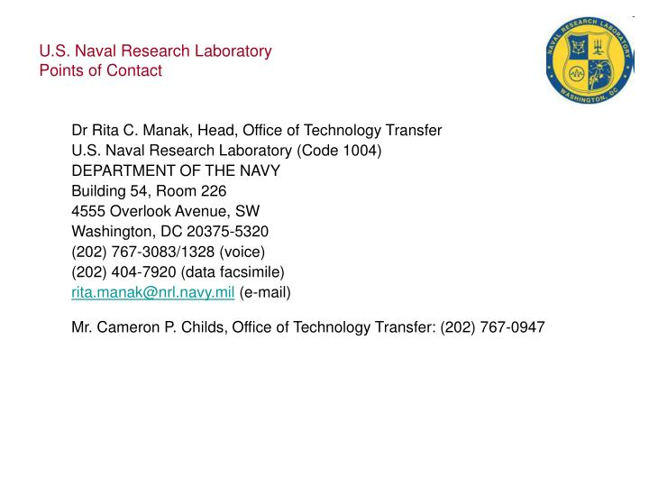 U s naval research laboratory points of contact