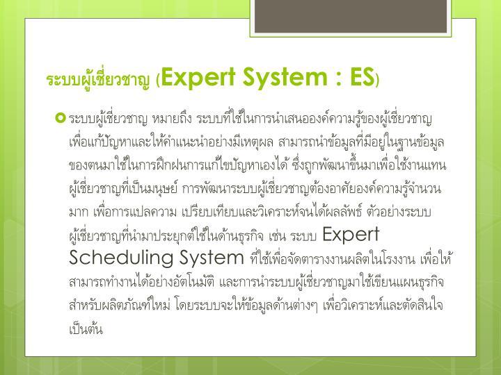 ระบบผู้เชี่ยวชาญ (