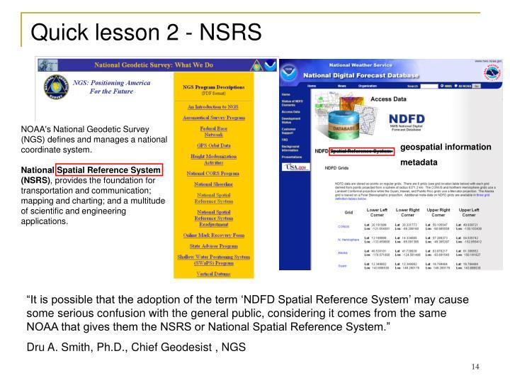 Quick lesson 2 - NSRS