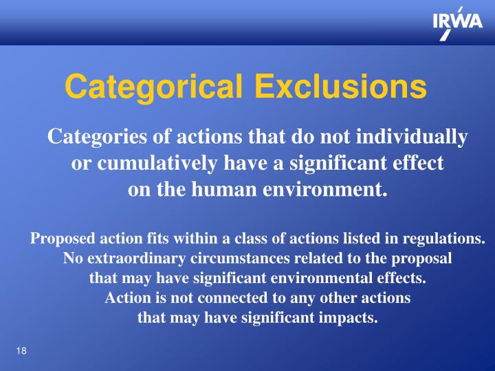 Categorical Exclusions