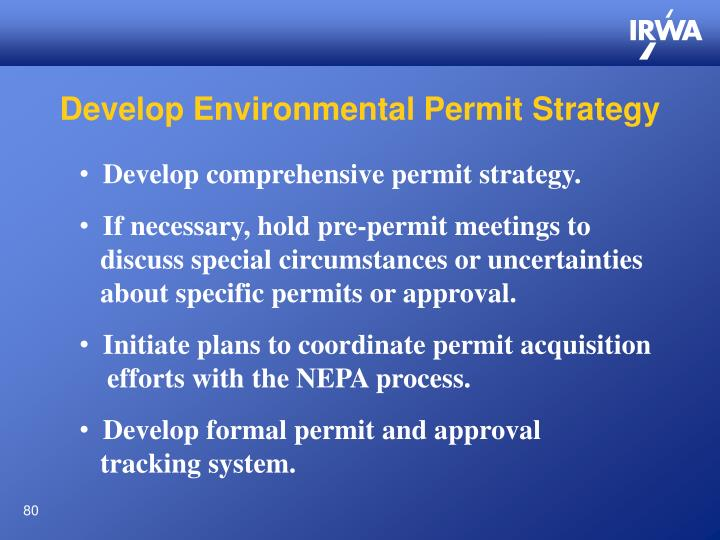 Develop Environmental Permit Strategy