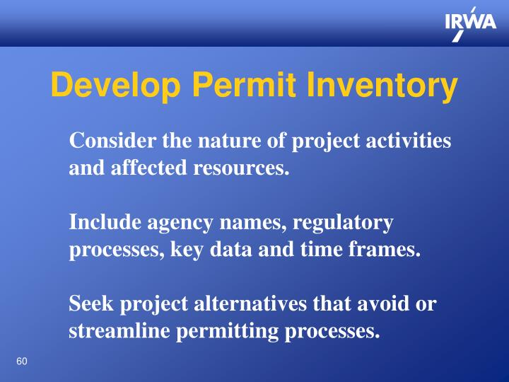 Develop Permit Inventory