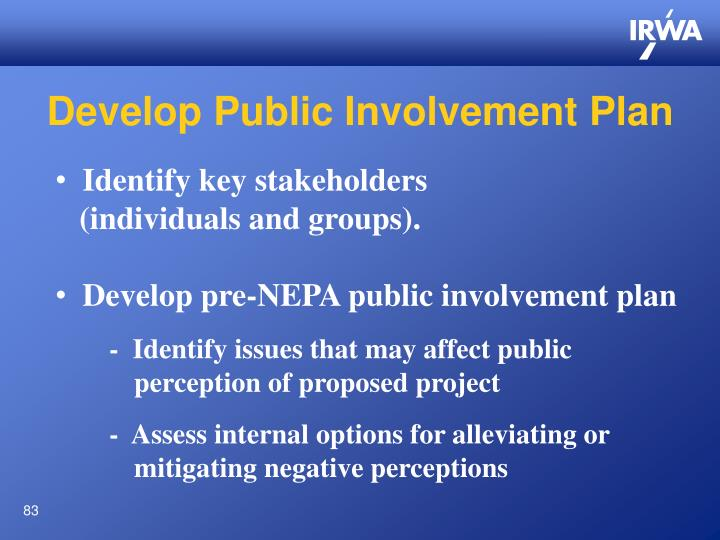 Develop Public Involvement Plan