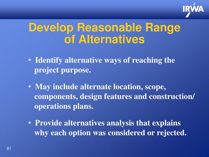 Develop Reasonable Range