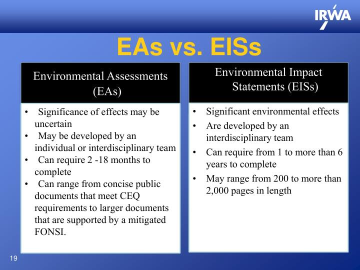 EAs vs. EISs
