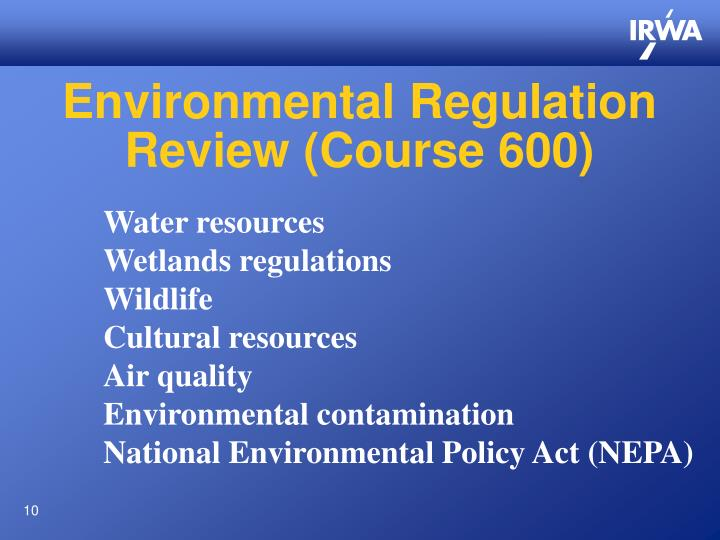 Environmental Regulation Review (Course 600)