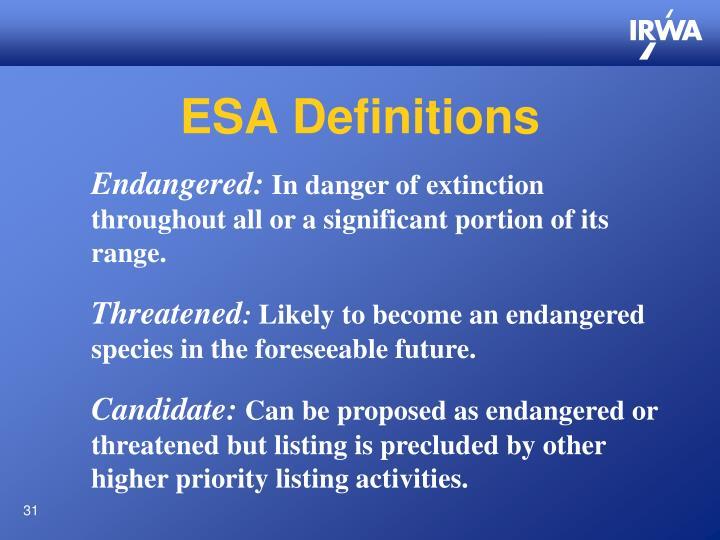 ESA Definitions
